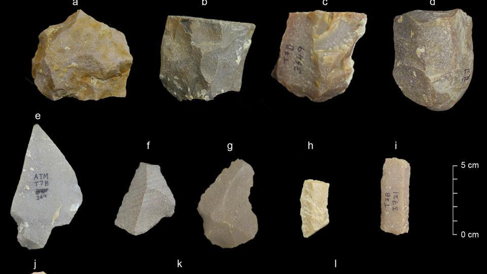 This image provided by the Sharma Centre for Heritage Education shows a sample of artifacts from the Middle Palaeolithic era found at the Attirampakkam archaeological site.
