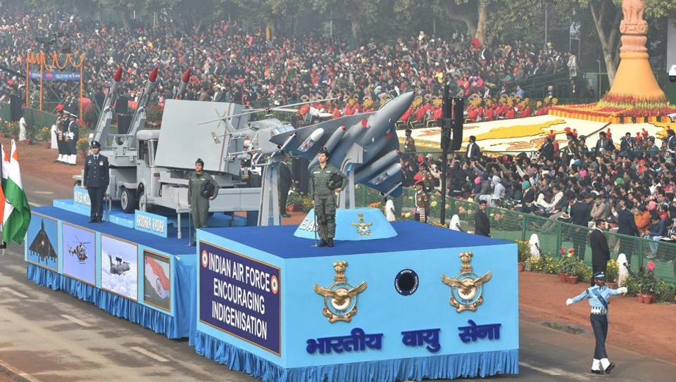 Indian Air Force tableau on display during the 69th Republic Day Parade in New Delhi on January 26, 2018.