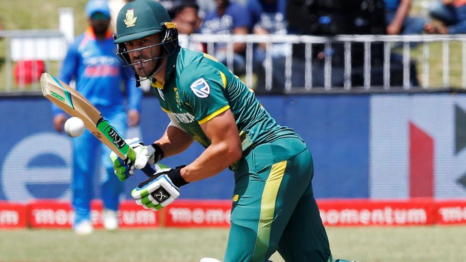 Faf du Plessis in action during the 1st ODI match between South Africa and India at Kingsmead Cricket Ground in Durban.