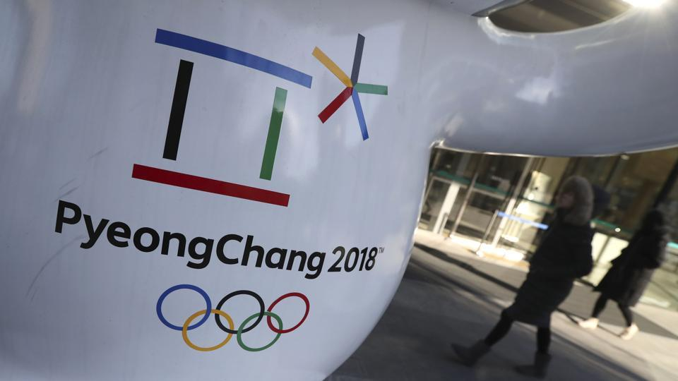 The official emblem of the 2018 Pyeongchang Games is seen in downtown Seoul, South Korea, Thursday, Feb. 1, 2018. Over little more than two weeks from the opening of the Winter Olympics next Friday, a total of 110,000 condoms will be distributed.