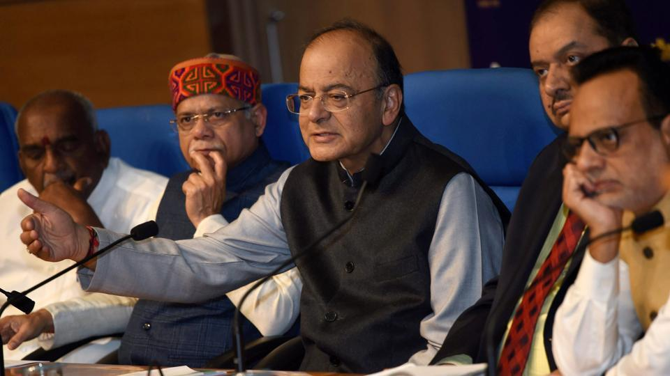 Union Minister for Finance and Corporate Affairs Arun Jaitley addresses a press conference after presenting the Union Budget 2018-19 in New Delhi on Thursday