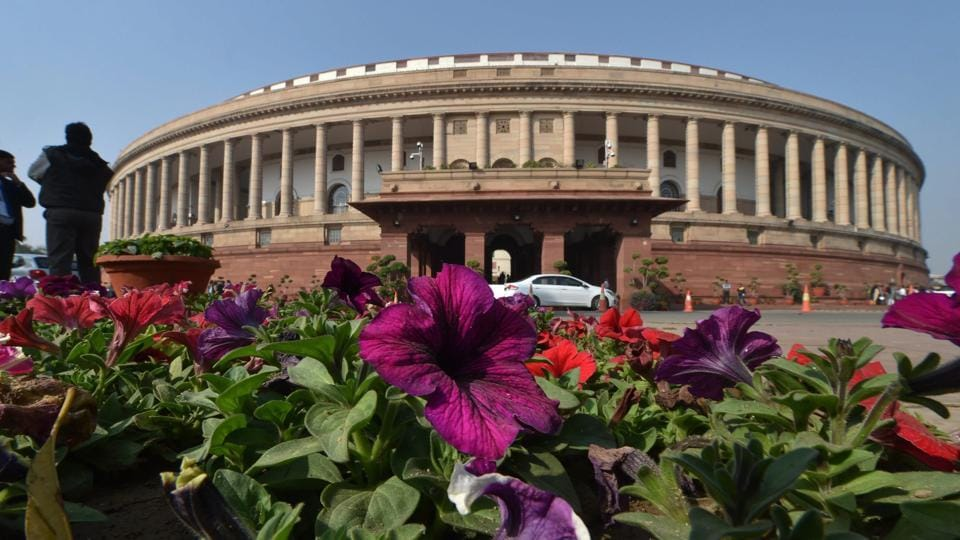 A view of the Parliament House ahead of the Budget Session 2018-19, in New Delhi.