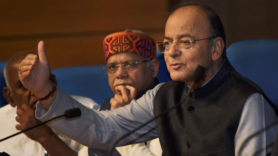 Union minister for finance and corporate affairs Arun Jaitley with the minister of state for finance Shiv Pratap Shukla addresses a press conference after Union Budget 2018-19 presentation, in New Delhi on Thursday.
