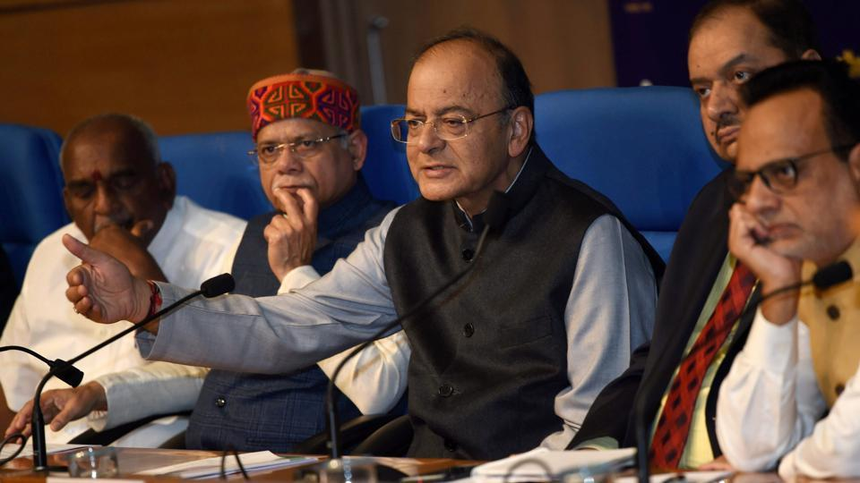 Union finance minister Arun Jaitley addresses a press conference after the Union Budget 2018-19  on Thursday.
