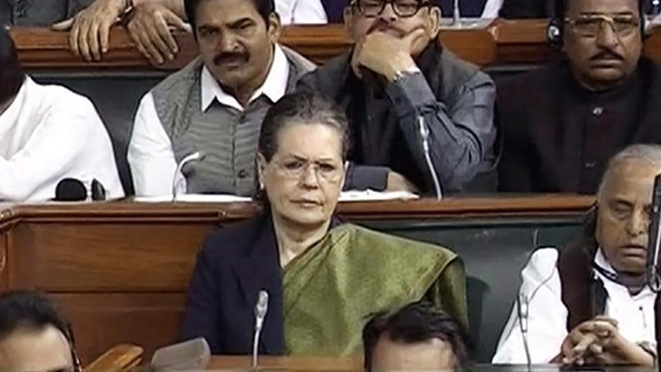 UPA chairperson Sonia Gandhi attends the Union Budget 2018 of the Lok Sabha at Parliament House in New Delhi on Thursday.