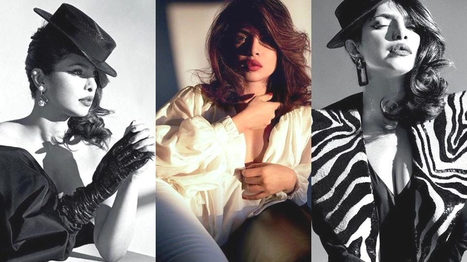 Actor Priyanka Chopra posed in an array of dramatic and chic outfits for her spread in Harper's Bazaar Arabia.