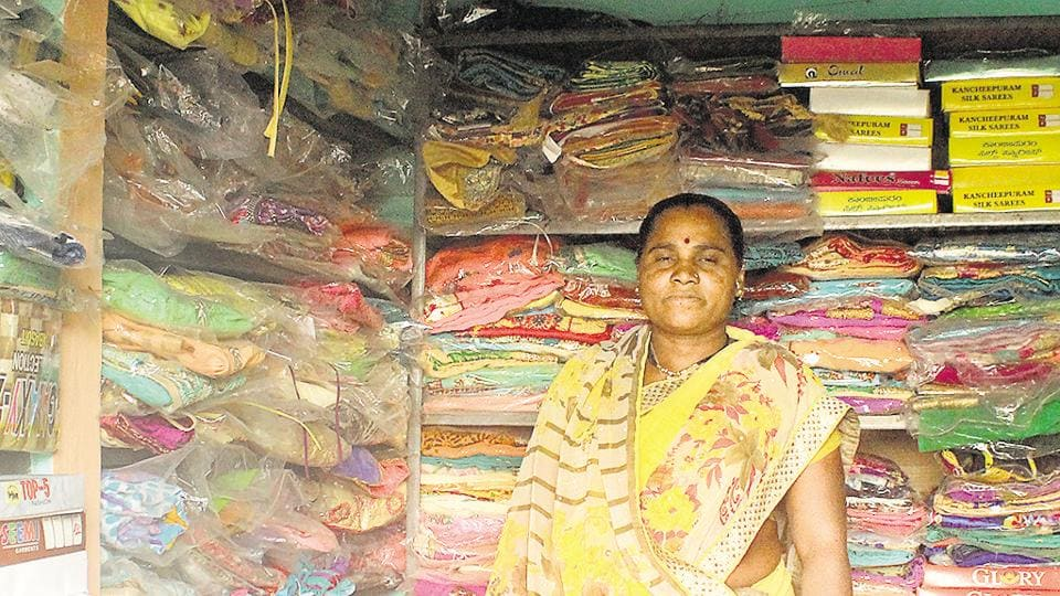 Kavita Sakhar from Masale Choudhari who began a shop of clothes for women and girls under the Maharashtra's government's startup village entrepreneurship programme.