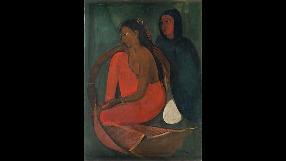 Amrita Sher-Gil's 'Dressing the Bride,' 1937. The exhibition currently on at the Visual Arts Gallery, India Habitat Centre, includes works by 25 artists, who spent time in France.  (Delhi Art Gallery)
