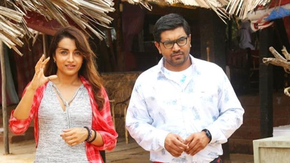 Trisha Krishnan and Nivin Pauly in a still from Hey Jude.