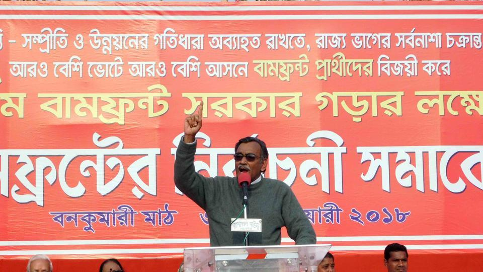 CPI(M) Bengal state secretary Suryakanta Mishra campaigning at Pratapgarh, Tripura on January 31.