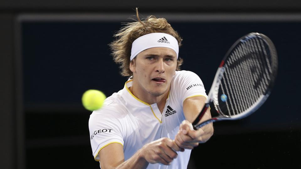 Alexander Zverev of Germany plays a shot in his match against Alex de Minaur of Australia at the Davis Cup World Group first round in Brisbane on Friday.