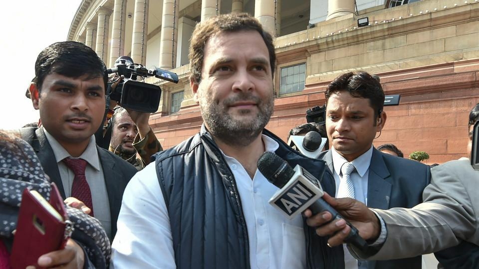 Congress president Rahul Gandhi reacts to the Union Budget 2018-19 after it was presented in the Lok Sabha by Union minister Arun Jaitley, at Parliament in New Delhi on Thursday.