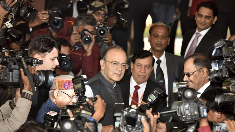 Finance minister Arun Jaitley presented the Union Budget 2018 -- the BJP's fifth -- in Parliament on Februray 01, 2018. (Sonu Mehta / HT Photo)
