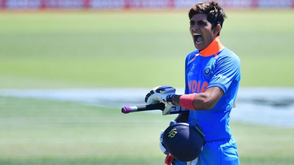 India's Shubham Gill celebrates 100 runs during the U-19 semi-final cricket World Cup match between India and Pakistan at Hagley Oval in Christchurch, New Zealand on January 30, 2018. (Marty Melville / AFP)