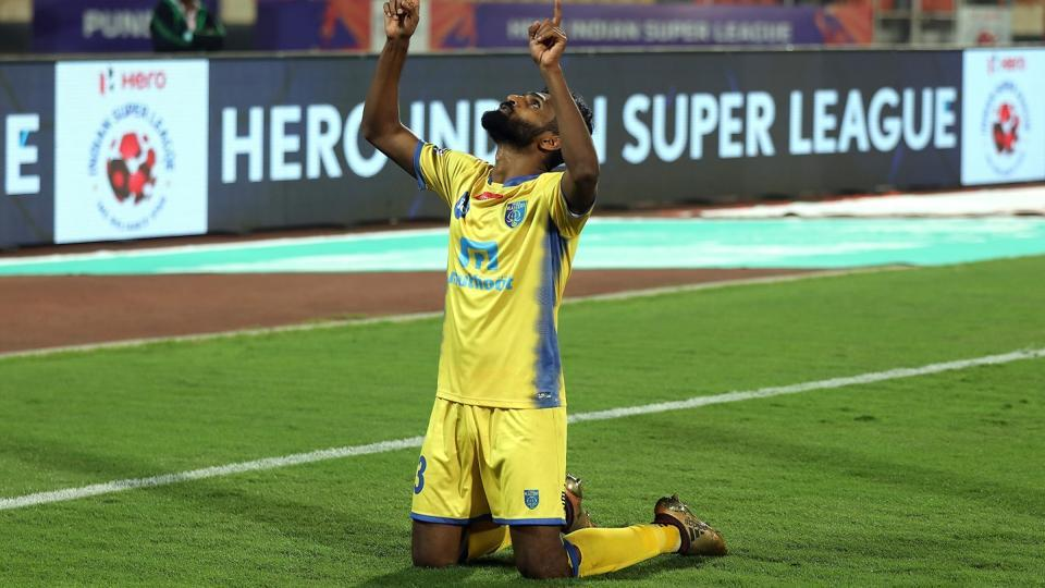 CK Vineeth of Kerala Blasters FC celebrates after scoring a goal against FC Pune City in an Indian Super League (ISL) match on Friday.