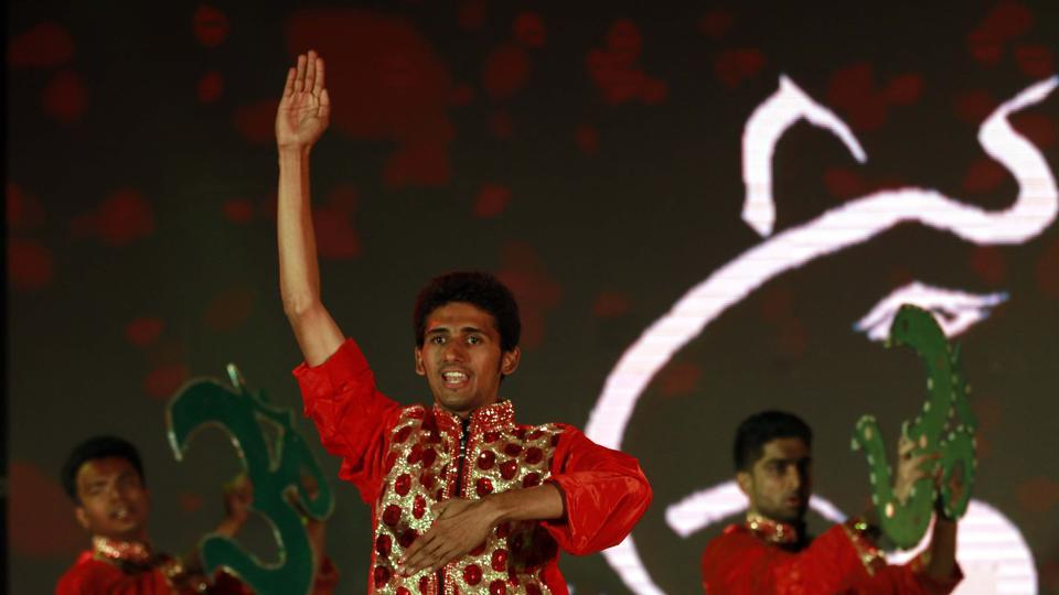 The group of visually impaired boys also performed an equally enthralling dance performance. (Rahul Raut/HT PHOTO)