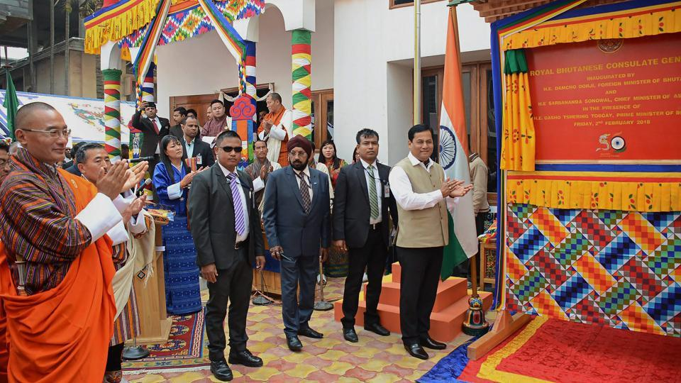 Assam Chief Minister Sarbananda Sonowal with Minister of Foreign Affairs Bhutan Damcho Dorji inaugurate the Consulate General's Office of Bhutan in the presence of Bhutanese Prime Minister Tshering Tobgay, in Guwahati. (PTI)