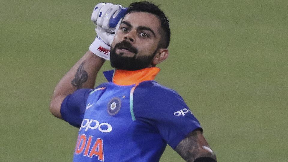 Indian cricket team skipper Virat Kohli celebrates after scoring his 33rd hundred in the first ODI against South Africa cricket team at the Kingsmead Stadium in Durban on Thursday.