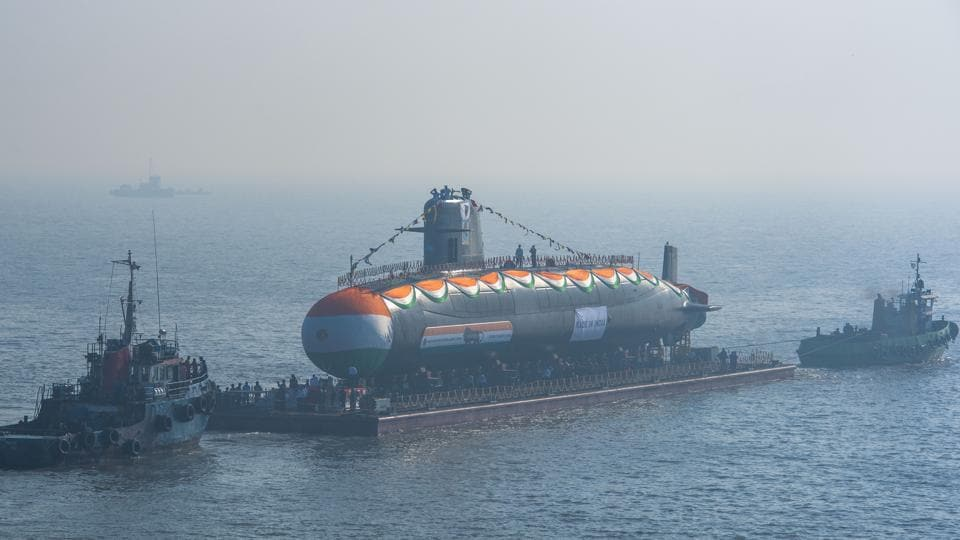 The third Scorpene-class submarine 'Karanj' was launched at Mazgaon Dock, Mumbai on January 31, 2018. Karanj is the third of the six Scorpene-class submarines being built by shipbuilder Mazagon Dock Limited (MDL) under the P-75I project. (Pratik Chorge / HT Photo)