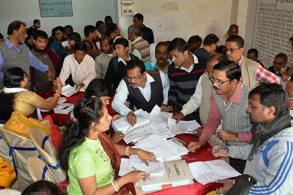 Elections officials inspect nomination papers ahead of Tripura assembly polls on Thursday.