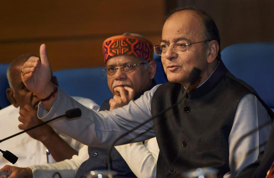 New Delhi: Union Minister for Finance and Corporate Affairs Arun Jaitley with the Minister of State for Finance Shiv Pratap Shukla addresses a press conference after Union Budget 2018-19 presentation, in New Delhi on Thursday.