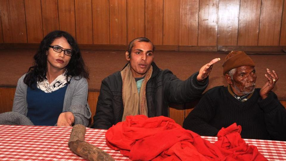 Ajay Pal (centre) was allegedly beaten up with a burning log at his residence on January 28.
