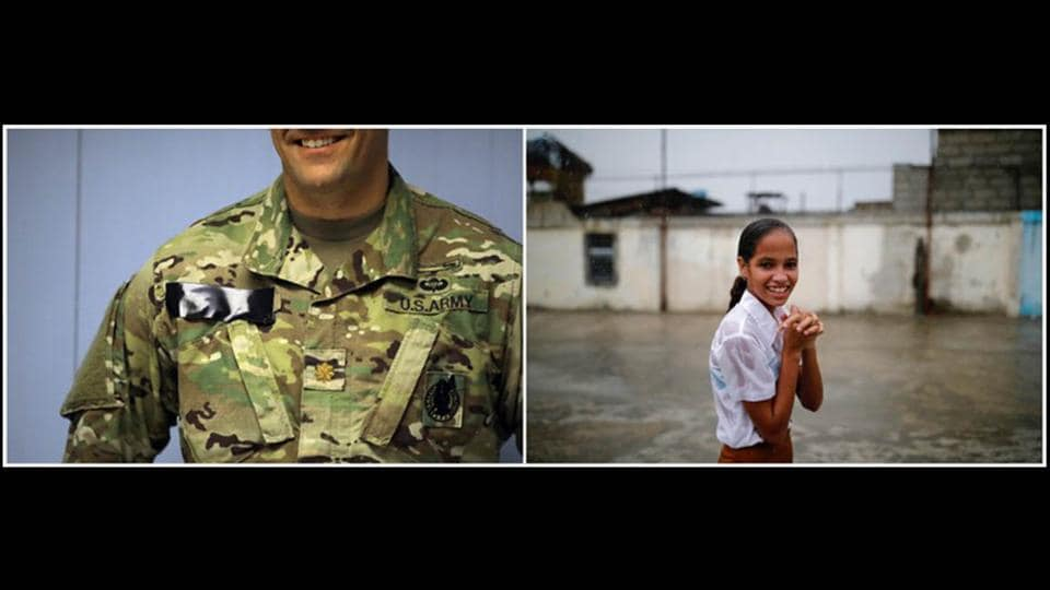 An unidentified member of the US Army stands by an empty cell inside a prison at the base in Guantanamo Bay. On the right,  a girl takes a break during a soccer game under heavy rain in the city. On the base, the uniforms are camouflage. In the city, uniforms are for school or sports. (Carlos Barria / REUTERS)