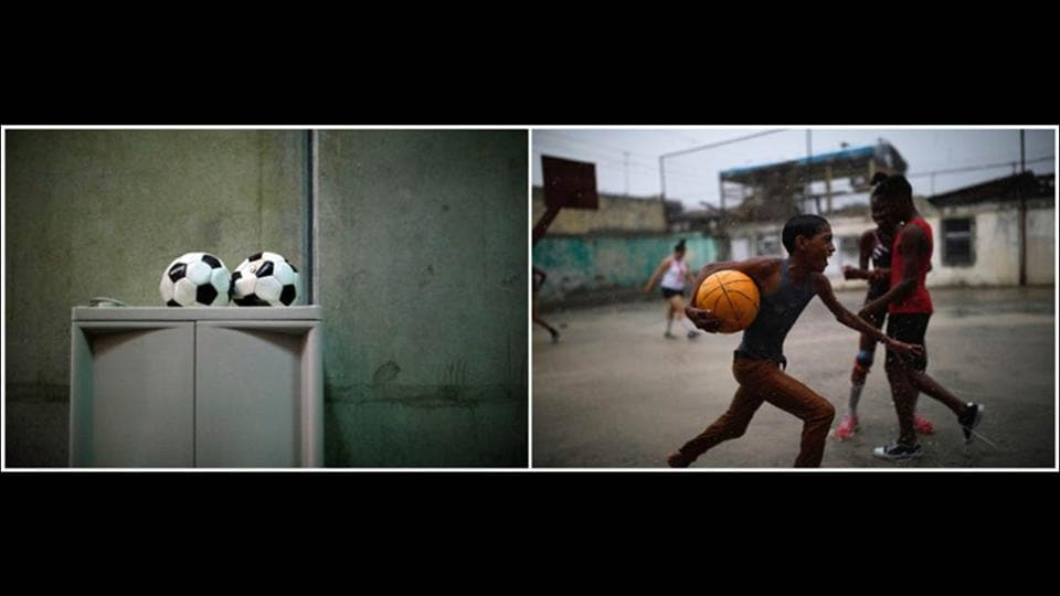 A soccer balls inside a cellblock at the base (L) and a boy running with a ball during a soccer game in the city. Radio Reloj, a Cuban government-run station, promotes the culture of Cuba under the island's communist leadership.  (Carlos Barria / REUTERS)