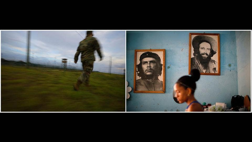 The two Guantanamos capture the stark contrasts of the neighbouring populations with hardly any communication between them. Still, small strands of similarity could be found. At the base, a US soldier patrols the area (L), while a portrait of Cuban revolutionary Che Guevara adorns a wall in the city. (Carlos Barria / REUTERS)