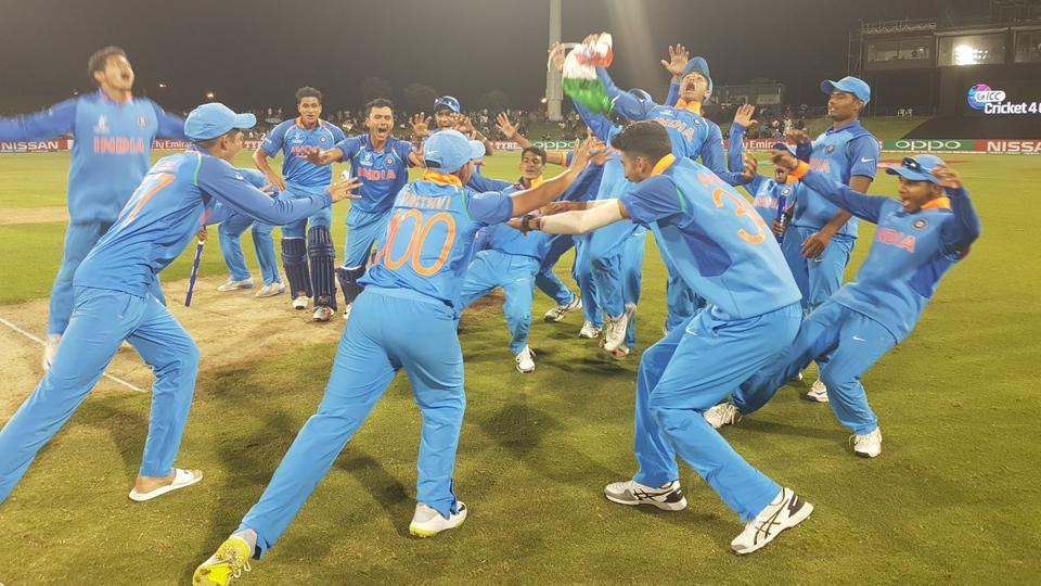 The Indian team players celebrate after they won the ICC U-19 cricket World Cup final against Australia at Mount Maunganui on Saturday.