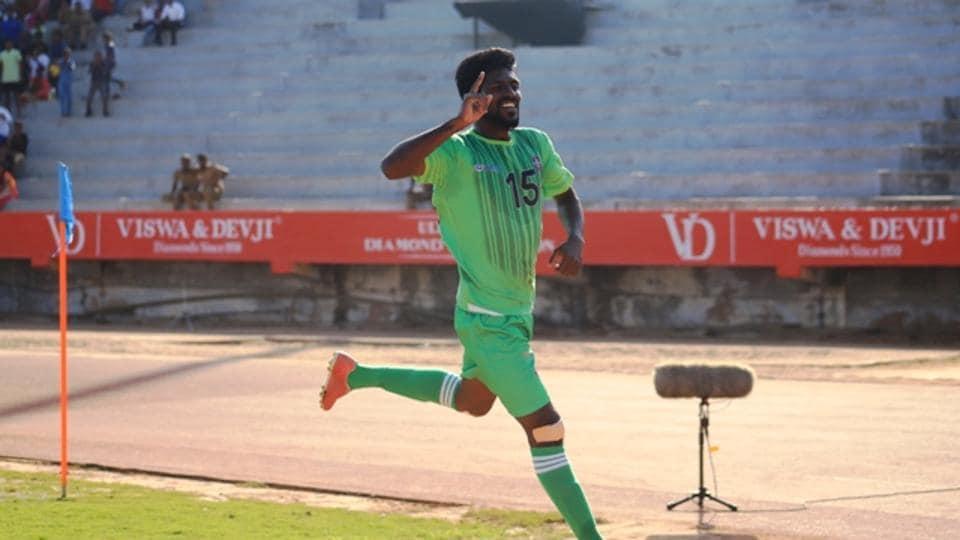 Beautin Antony celebrates after scoring for Chennai City FC  against Aizawl FC