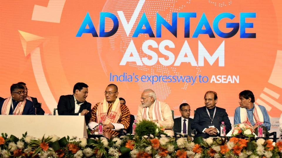 Prime Minister Narendra Modi and Bhutan Prime Minister Tshering Tobgay at the Advantage Assam- Global Investors Summit 2018, in Guwahati on Saturday.
