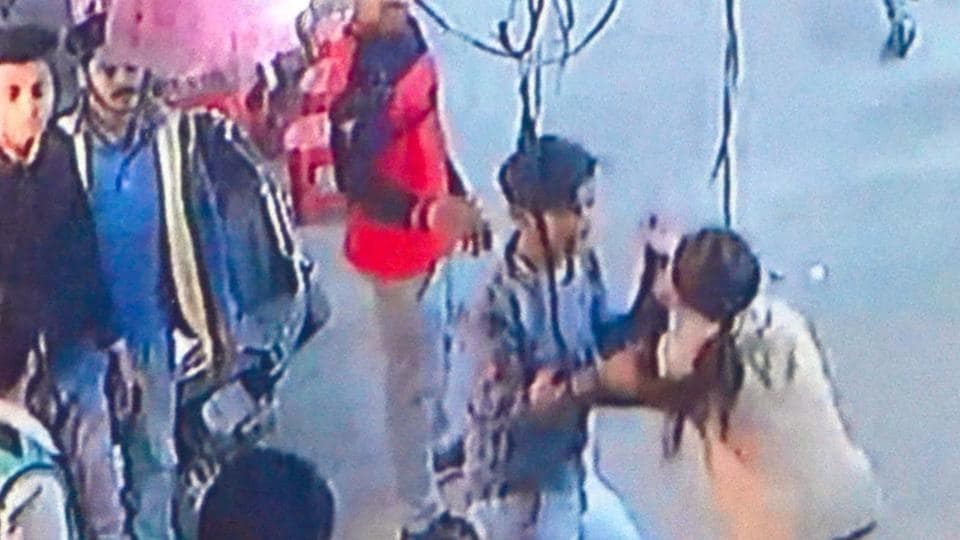 A CCTV grab of hooliganism in a Tarn Taran market on January 31. Police have booked 16 in the case.