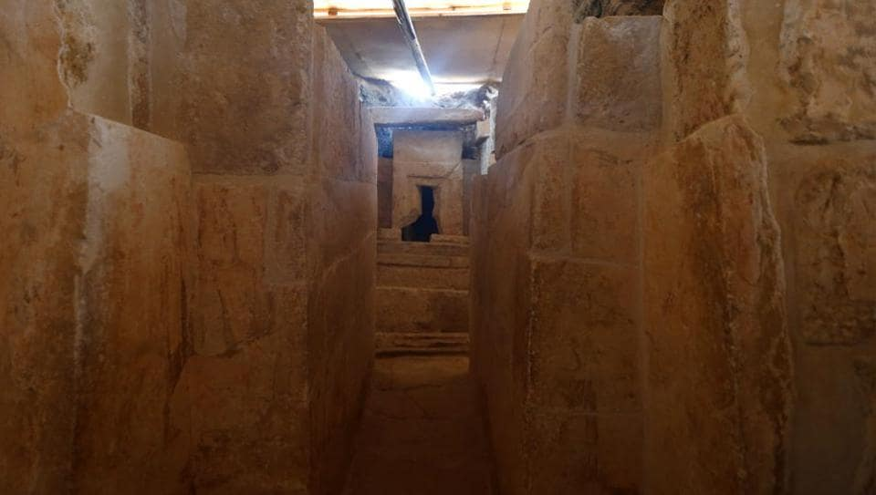 The discovery of an Old Kingdom tomb from Egypt's antiquities authorities is seen at the Giza plateau, the site of the three ancient pyramids on the outskirts of Cairo, Egypt on February 3.