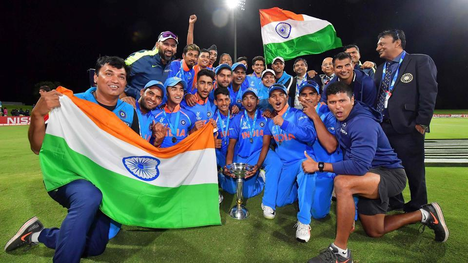 India defeated Australia by eight wickets to win the ICC Under-19 Cricket World Cup title for a record fourth time, at the Bay Oval in Mount Maunganui, Tauranga, on Saturday. (AFP)