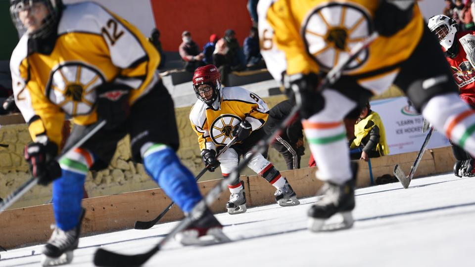 The girls recall the hardships of the early days and how they had to make their own ice rink at Gupuks lake outside the city to be able to practice. Using the leftover money from a crowdfunding campaign, they formed the Ladakh Women Ice Hockey Foundation and haven't looked back since. (Sanchit Khanna / HT Photo)