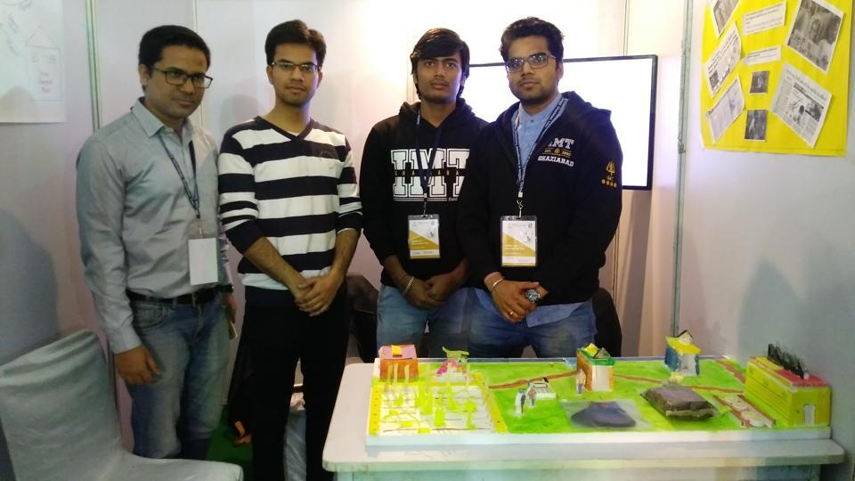 Students with their crop residue to vermicompost model at 'IMTheInnovator' event in Ghaziabad.