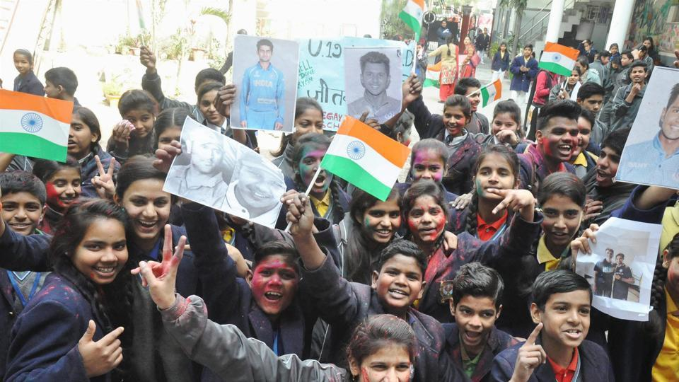 Students from wicket-keeper Aryan Juyal's school celebrate India's ICC Under-19 Cricket World Cup win.  (PTI)