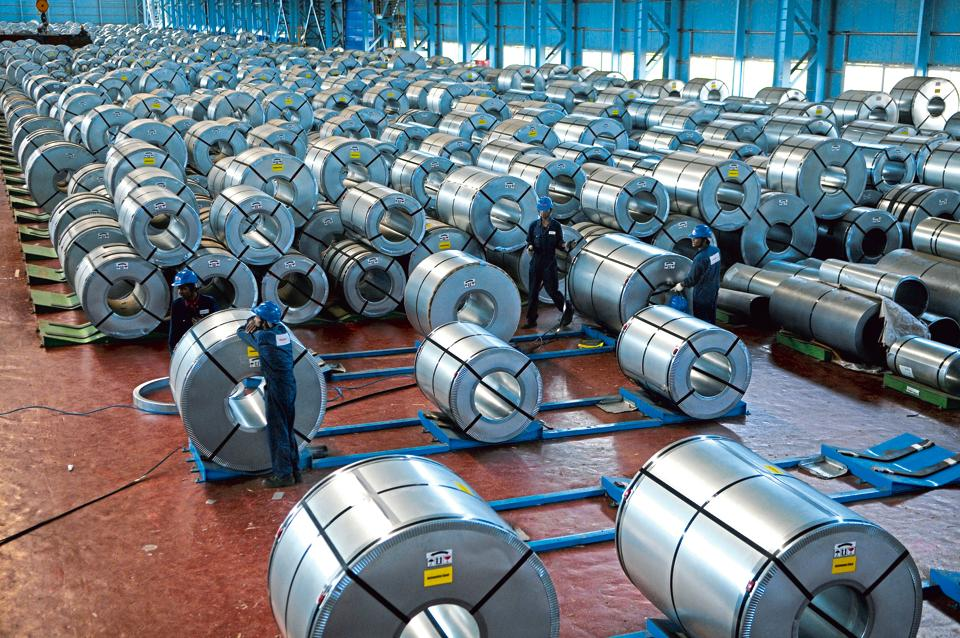 Steel rolls at a steel plant in Maharashtra.
