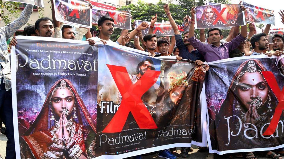 Activists of Rashtriya Rajput Karni Sena holding banners and raising slogans during a protest against the release of the film 'Padmaavat' in Coimbatore on Thursday.