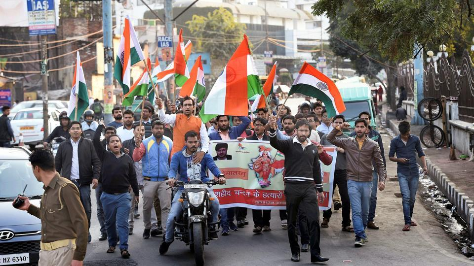 Youths march in Lucknow on Friday to demand action against the killers of Chandan Gupta, who lost his life in Kasganj violence on Republic Day.