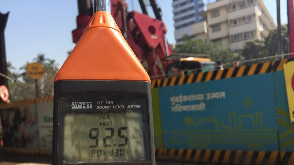 Noise levels recorded near a Metro construction site in Mumbai.