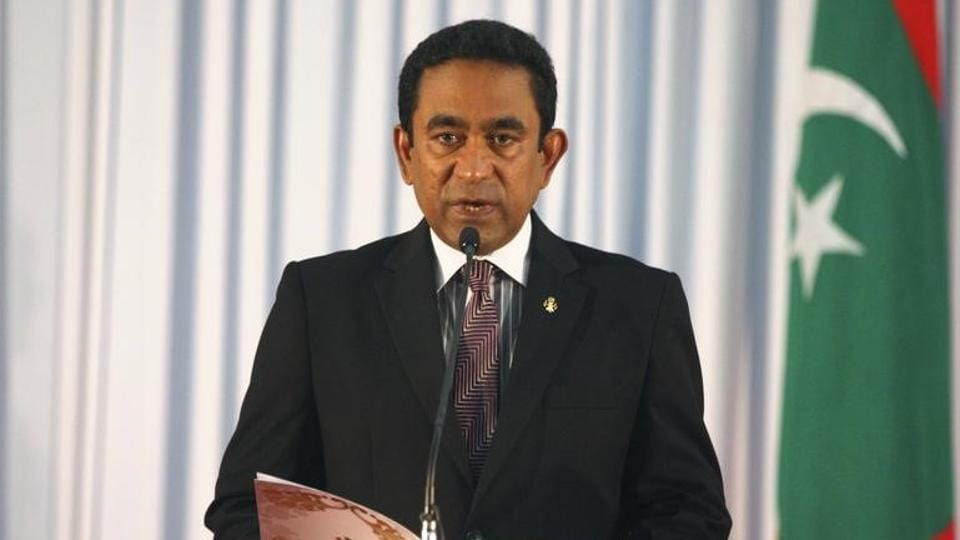 Abdulla Yameen takes his oath as the President of Maldives, November 17, 2013. While Male may hope Beijing will bail it out from Indian pressure, China is bound to ditch President Yameen as the increasingly uncertain benefits of supporting him begin to outweigh the rising costs of hanging on to him