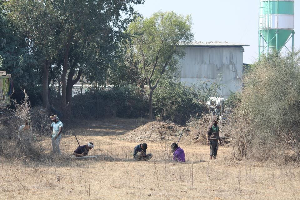 Villagers said a half-acre plot close to Mangar Bani is being fenced off by pitching poles and around 15 trees have been chopped.