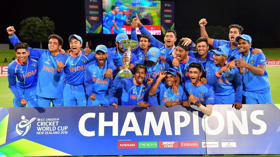India's team poses to celebrate its victory in the Under-19 cricket World Cup final against Australia at Bay Oval in Mount Maunganui on Saturday.