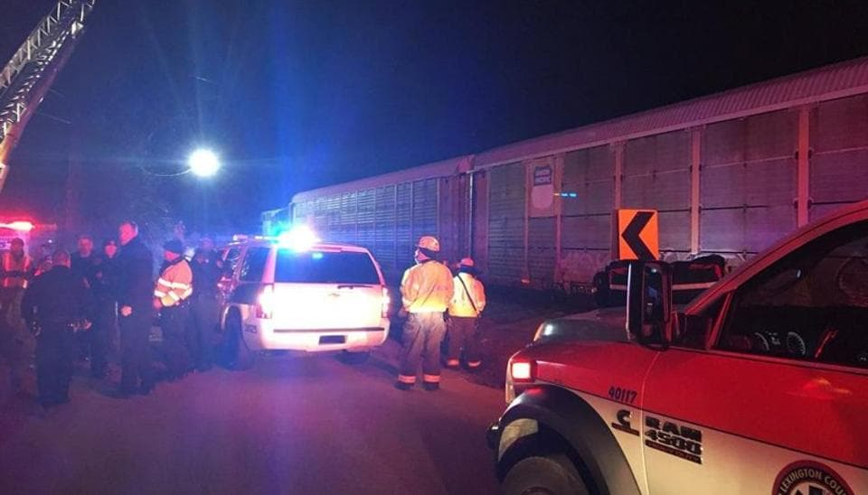 Emergency crews attend to the site of a train collision near Pine Ridge, Lexington County, South Carolina, US, February 4, 2018 in this image obtained from social media.