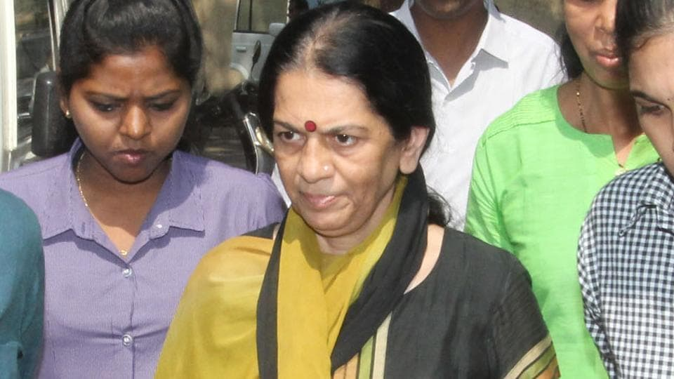 Rajani Pandit outside a court in Thane on Saturday.
