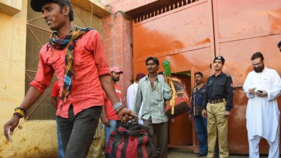 Indian fishermen inside a district jail in Karachi,Pakistan.