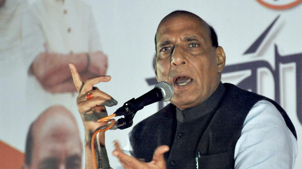 Home minister Rajnath Singh addresses a gathering during the Tripura assembly election campaign in Agartala on Saturday