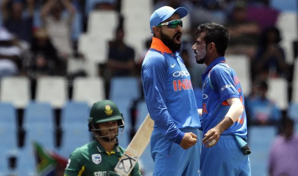 Yuzvendra Chahal (right) celebrates with Indian cricket captain Virat Kohli after dismissing South Africa cricket team's JP Duminy during the second ODI at Centurion Park in Pretoria onSunday.